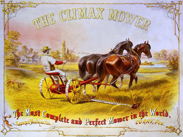 Horse Art Print featuring the mixed media Climax Mower by Charlie Ross