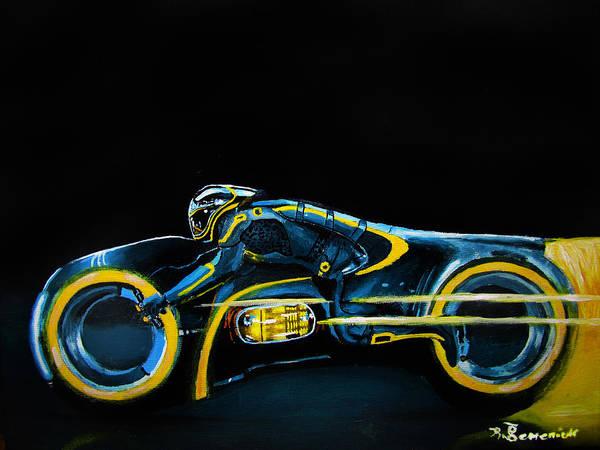 Clu Art Print featuring the painting Clu's Lightcycle by Kayleigh Semeniuk