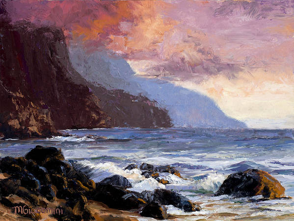 Ocean Print featuring the painting Coastal Cliffs Beckoning by Mary Giacomini