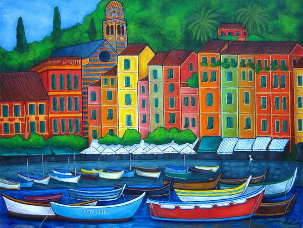 Portofino Art Print featuring the painting Colours Of Portofino by Lisa Lorenz