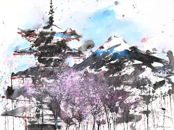 Woods Art Print featuring the painting Combination No.32 Spring Time Mt.fuji And Pagoda by Sumiyo Toribe