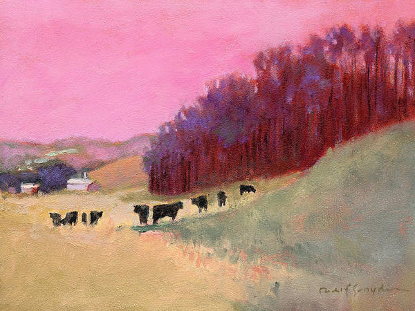 Cows Art Print featuring the painting Cows 3 by J Reifsnyder