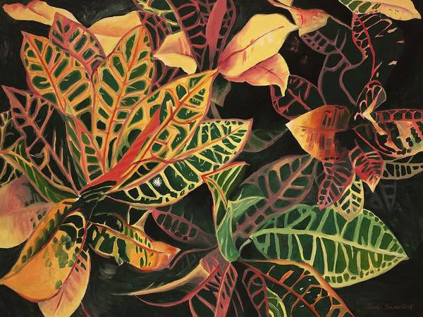 Croton Leaves Art Print featuring the painting Croton Leaves by Judy Swerlick