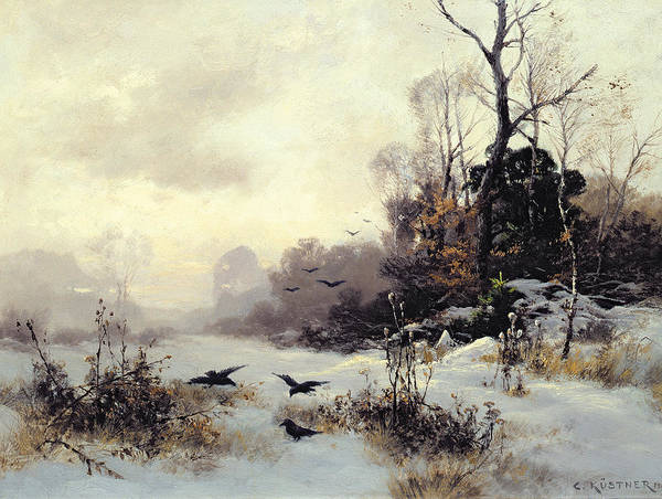 Snow Art Print featuring the painting Crows In A Winter Landscape by Karl Kustner