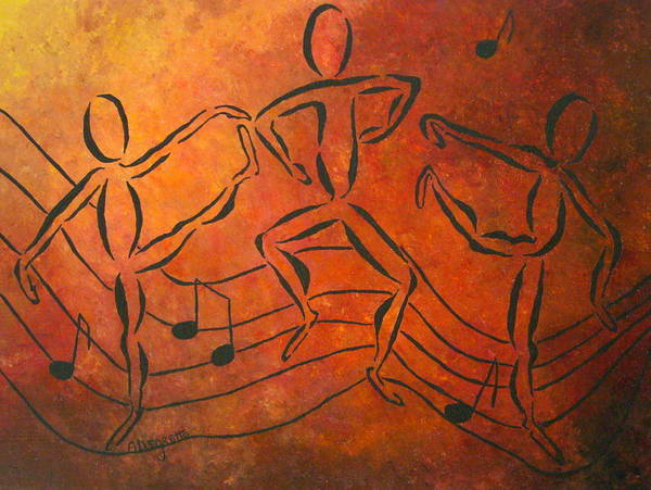 Pamela Allegretto Franz Print featuring the painting Dance Fever by Pamela Allegretto