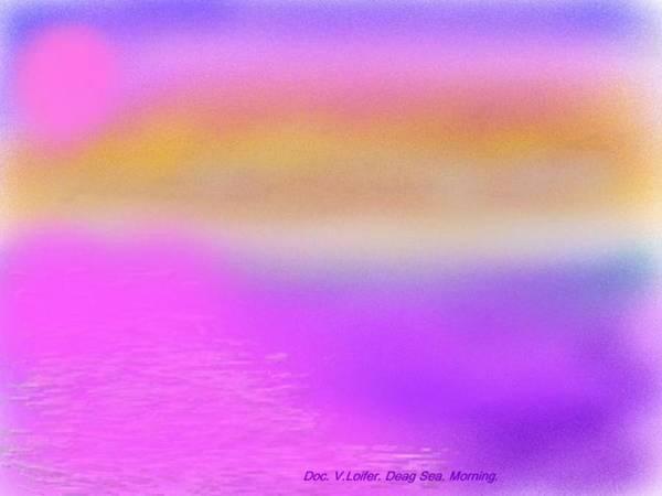 Morning.sky.sea.fog.coilors.mounts.water.reflection.sun Art Print featuring the digital art Dead Sea .morning by Dr Loifer Vladimir