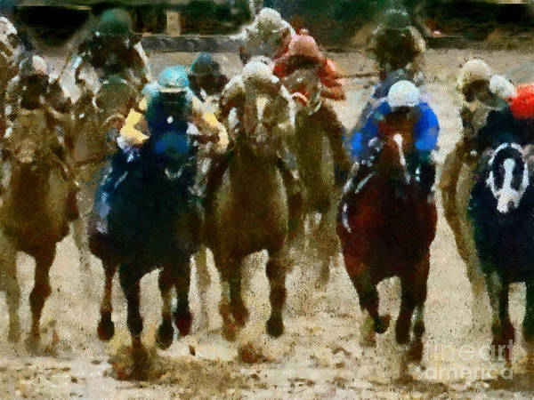 Race Run Art Print featuring the painting Derby Day Two Of Three by Scott B Bennett