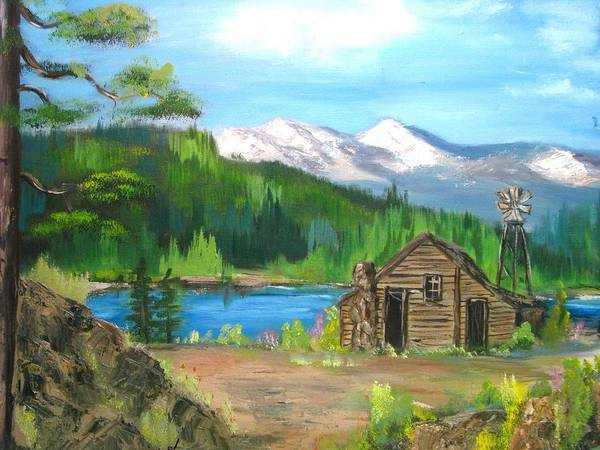 Cabin On Lake Art Print featuring the painting Deserted Cabin by Judi Pence