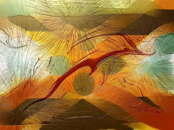 Abstract Print featuring the digital art Dolphin Abstract - 2 by Kae Cheatham