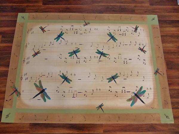 Dragonfly Art Print featuring the painting Dragonfly Symphony 64x45 Art For Your Floor by Cindy Micklos