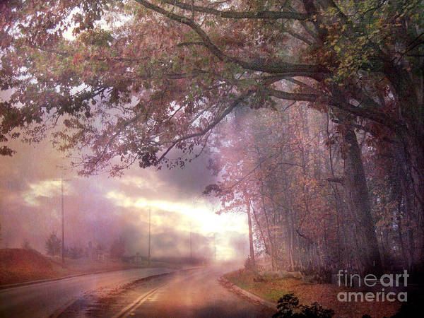 Pink Nature Tree Landscape Art Print featuring the photograph Dreamy Pink Nature Landscape - Surreal Foggy Scenic Drive Nature Tree Landscape by Kathy Fornal