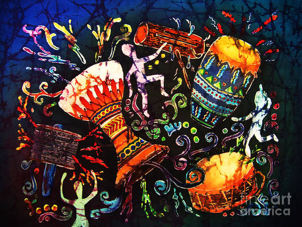 Drums Art Print featuring the painting Drumbeat by Sue Duda