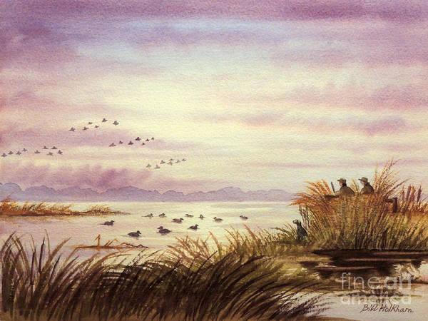 Duck Hunting Companions Art Print by Bill Holkham