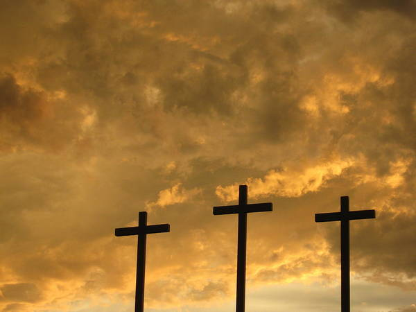 Three Crosses Of A Church With Storm Clouds In Fort Worth Texas Art Print featuring the photograph Easter Reminder by Karen Coats