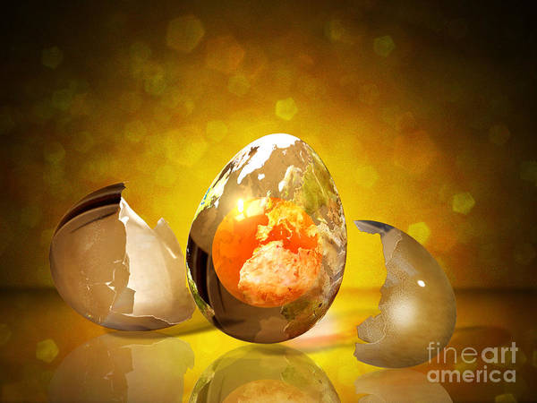 Egg Art Print featuring the photograph Egg World by Andrea Aycock