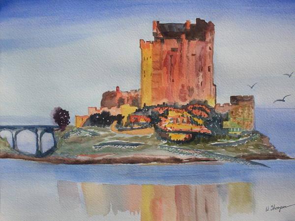 Scotland Art Print featuring the painting Eilean Donan Castle Dornie Inverness Shire Scotland by Warren Thompson
