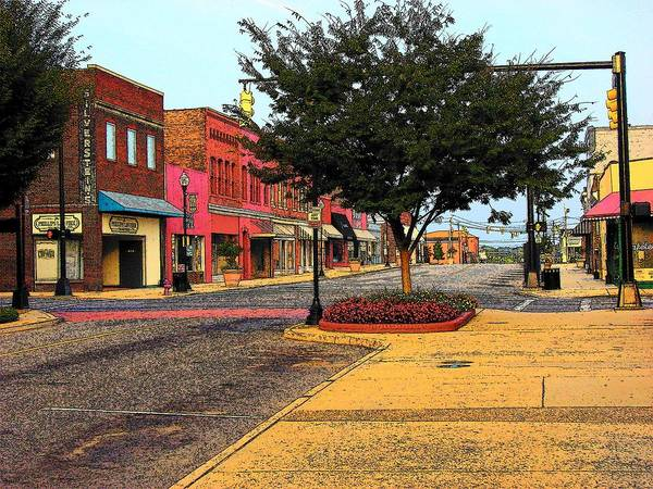 Digital Art Art Print featuring the photograph Empty Town by Rodney Lee Williams