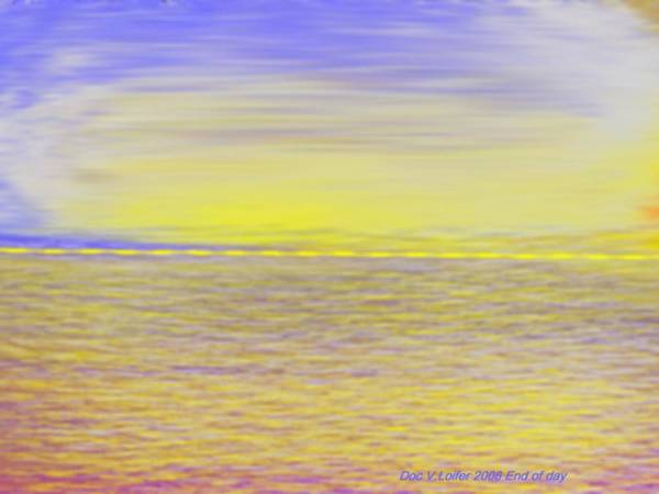 Sky.clouds.sun Reflection On Clouds.colr Clouds.sunset.sun.yellow.sea.waves.sun Reflection On Water. Art Print featuring the digital art End Of Day by Dr Loifer Vladimir