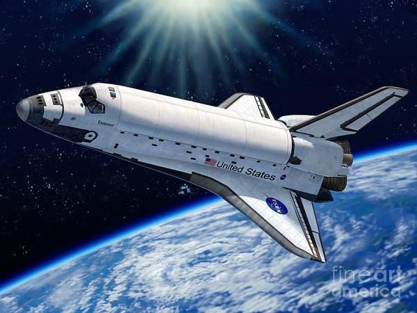 Space Art Print featuring the digital art Endeavour In Space by Stu Shepherd