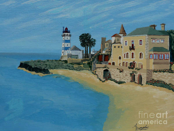 Lighthouse Art Print featuring the painting European Lighthouse by Anthony Dunphy