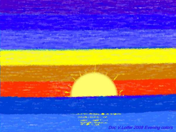 Evening.sky.stars.colors.violet.blue.orange.yellow.red.sea.sunset.sun.sunrays.reflrction. Ater. Art Print featuring the digital art Evening Colors by Dr Loifer Vladimir