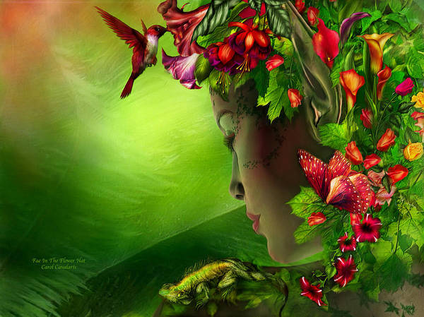 Fae Print featuring the mixed media Fae In The Flower Hat by Carol Cavalaris