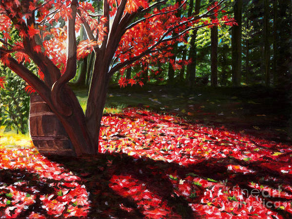 Japanese Maple Tree Art Print featuring the painting Falling Red Leaves by Diane Speirs
