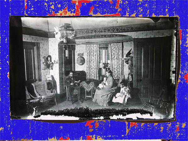 Family At Home Interior Collage Tucson Arizona Circa 1883 Color Added Art Print featuring the photograph Family At Home Interior Collage Tucson Arizona Circa 1883-2012 by David Lee Guss