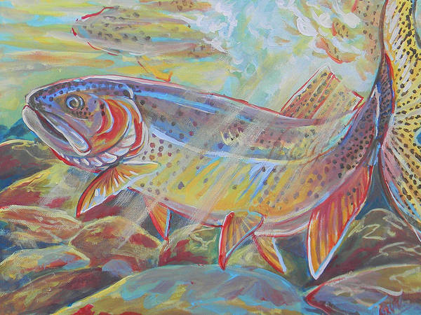 Fish Art Print featuring the painting Fine Spotted Cutthroat Trout by Jenn Cunningham