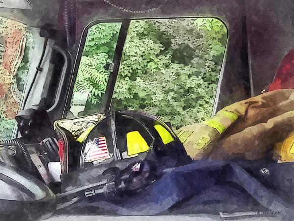 Helmet Print featuring the photograph Firemen - Helmet Inside Cab Of Fire Truck by Susan Savad