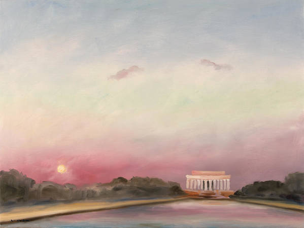Skyscape Art Print featuring the painting First Inaugural Sunset 20 January 2009 by William Van Doren