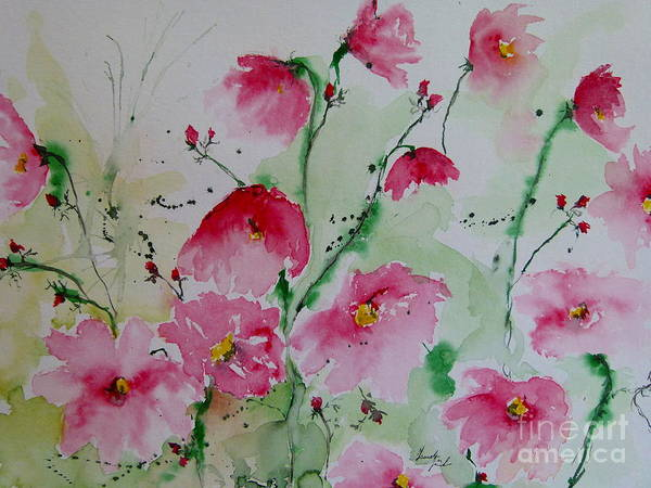 Flowers Art Print featuring the painting Flowers - Watercolor Painting by Ismeta Gruenwald