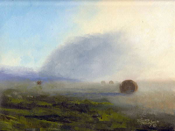 Haybales Art Print featuring the painting Foggy Bales by Tommy Thompson