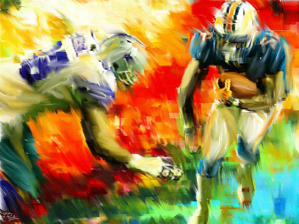Quarterback Art Print featuring the digital art Football IIi by Lourry Legarde