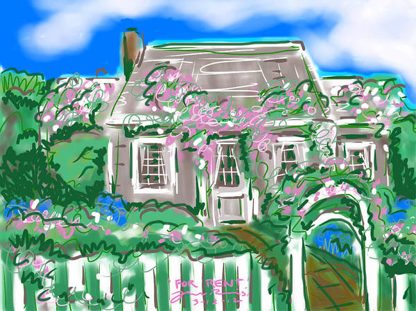A Cape Cod Style Rose Covered Cottage. Art Print featuring the painting For Rent by Jean Pacheco Ravinski