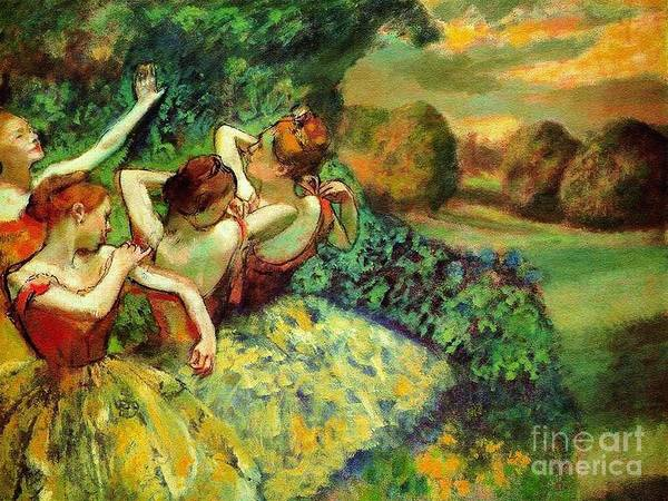 Pd Art Print featuring the painting Four Dancers by Pg Reproductions