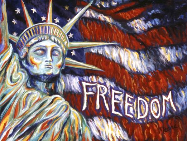 Statue Of Liberty Art Print featuring the painting Freedom by Linda Mears