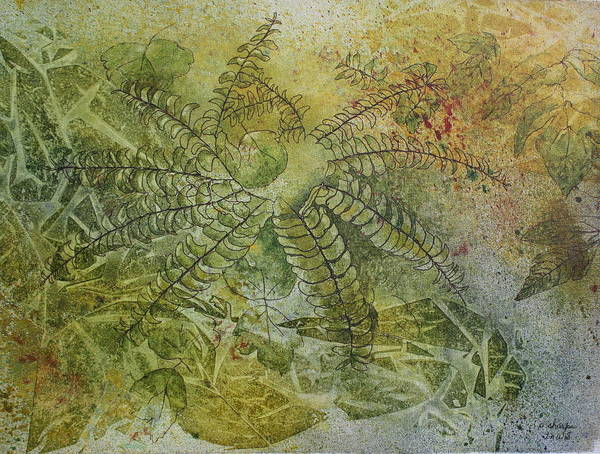 Mystical Landscape Print featuring the painting Garden Mist by Patsy Sharpe