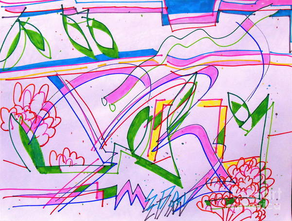 Abstracted Garden Showing Natures Flow. Art Print featuring the drawing Gardening by E Dan Barker