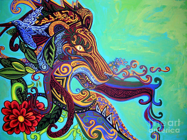 Lion Art Print featuring the painting Gargoyle Lion 3 by Genevieve Esson