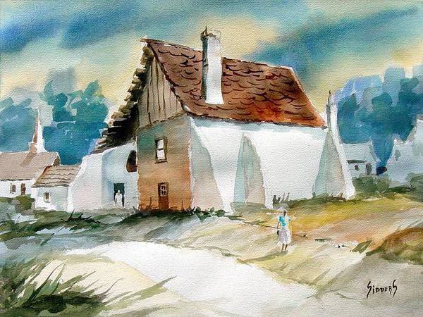 House Art Print featuring the painting George's House by Sam Sidders