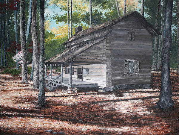 Georgia. Cabin Art Print featuring the painting Georgia Cabin In The Woods by Beth Parrish