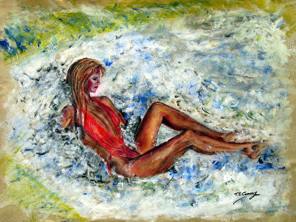 Girl Art Print featuring the painting Girl In A Red Swimsuit by Tom Conway