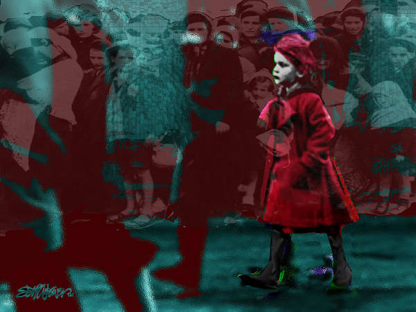 Girl In The Blood-sstained Coat Art Print featuring the mixed media Girl In The Blood-stained Coat by Seth Weaver
