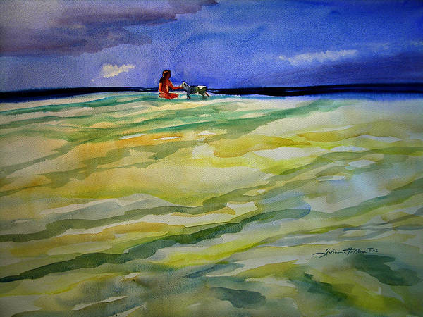 Impressionism Art Print featuring the painting Girl With Dog On The Beach by Julianne Felton