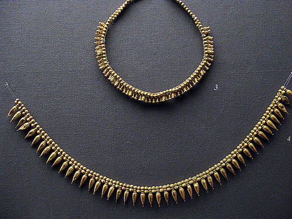 Ancient Greek Gold Necklace Art Print featuring the photograph Gold Necklace by Andonis Katanos