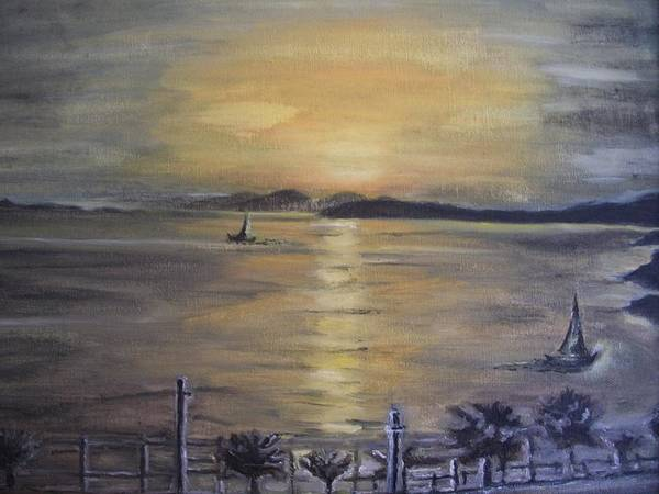Teresa White Art Print featuring the painting Golden Sea View by Teresa White