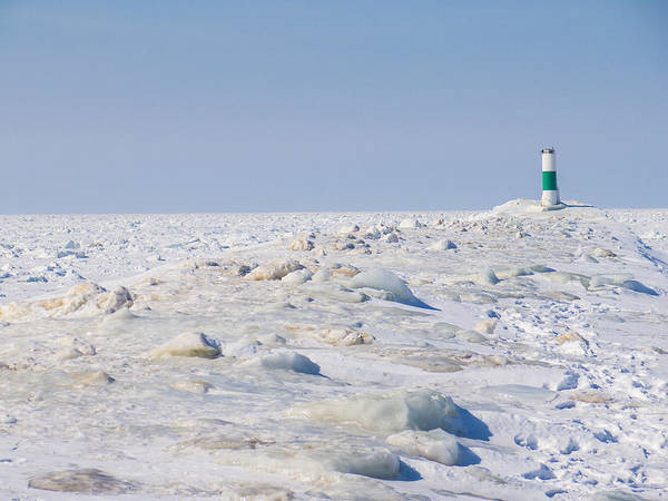 Grand Haven Art Print featuring the photograph Grand Haven Channel Under Ice by Kirsten Dykstra