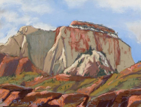 Plein Air Pastel Landscape Painting . Art Print featuring the pastel Great White Throne Vista by Patricia Rose Ford