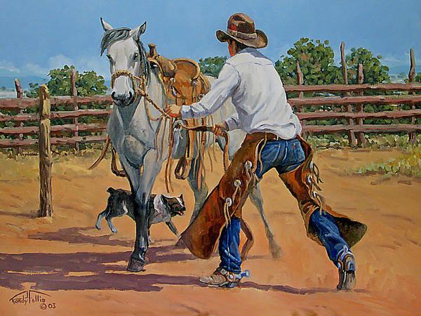 Cowboy Print featuring the painting Green Broke Grey by Randy Follis